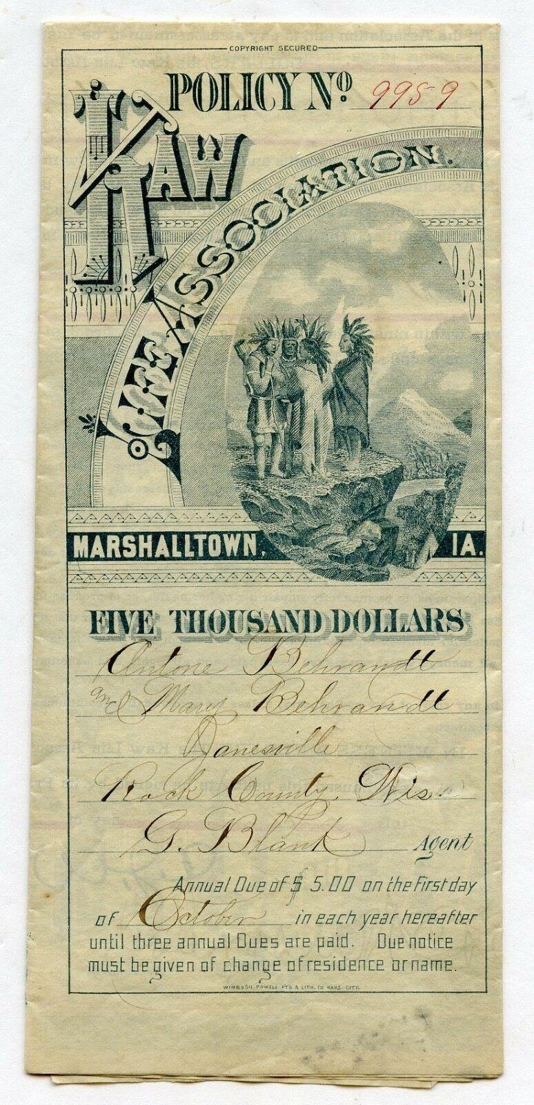 1885 KAW LIFE ASSOCIATION $5000 POLICY -MARSHALLTOWN IA IOWA ADVERTISI.jpg