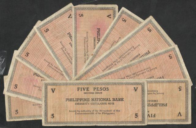 PHILIPPINES RARE 10 X 1941 5 PESOS EMERGENCY NOTE SEE SCAN $13.50 rev.jpg