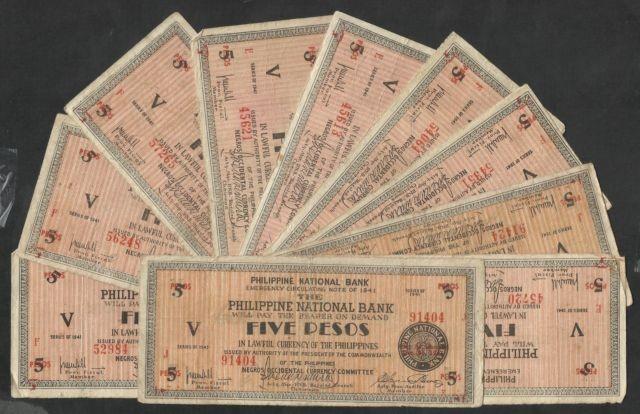 PHILIPPINES RARE 10 X 1941 5 PESOS EMERGENCY NOTE SEE SCAN $13.50.jpg