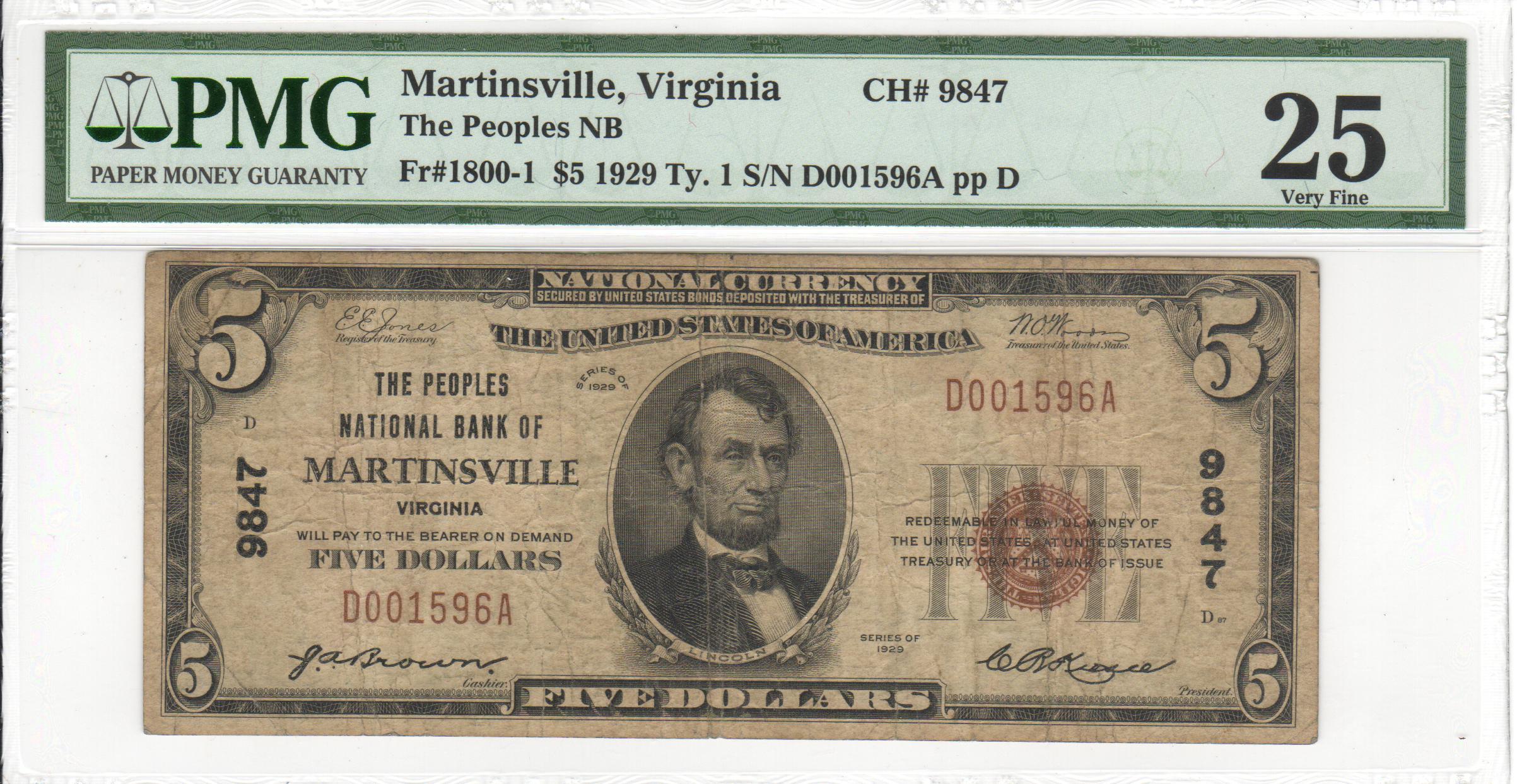 Fr-1800-1-1929-5-T1-9847-Martinsville-VA-Serial-D001596A-PMG-VF-25-OBV.png