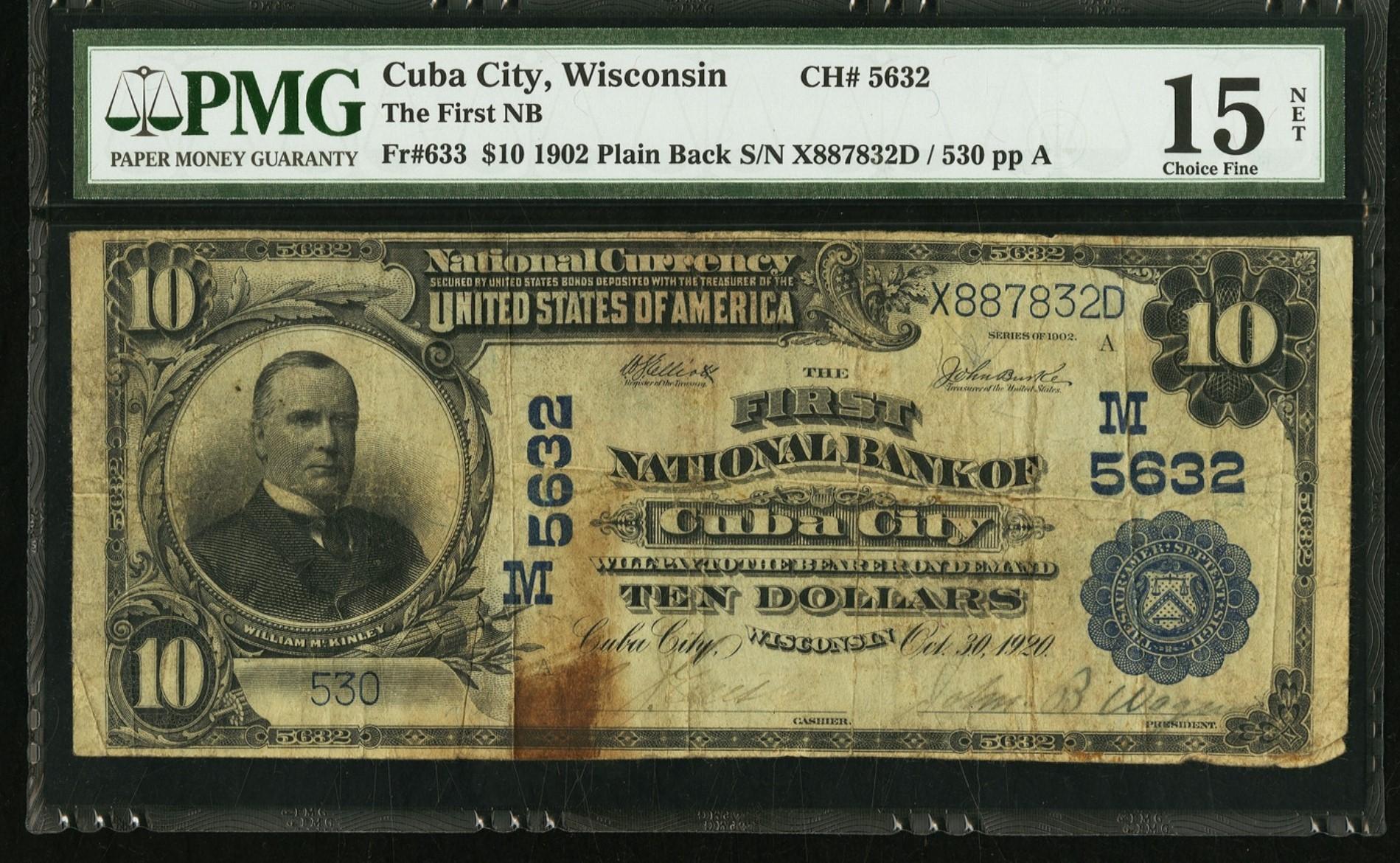 Cuba City, 02PB, ch.5632, FNB, $10, PMG15 front.jpg