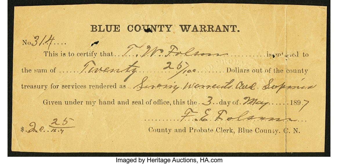 Blue County Warrant Choctaw Nation Indian Territory May 3 1897.jpg