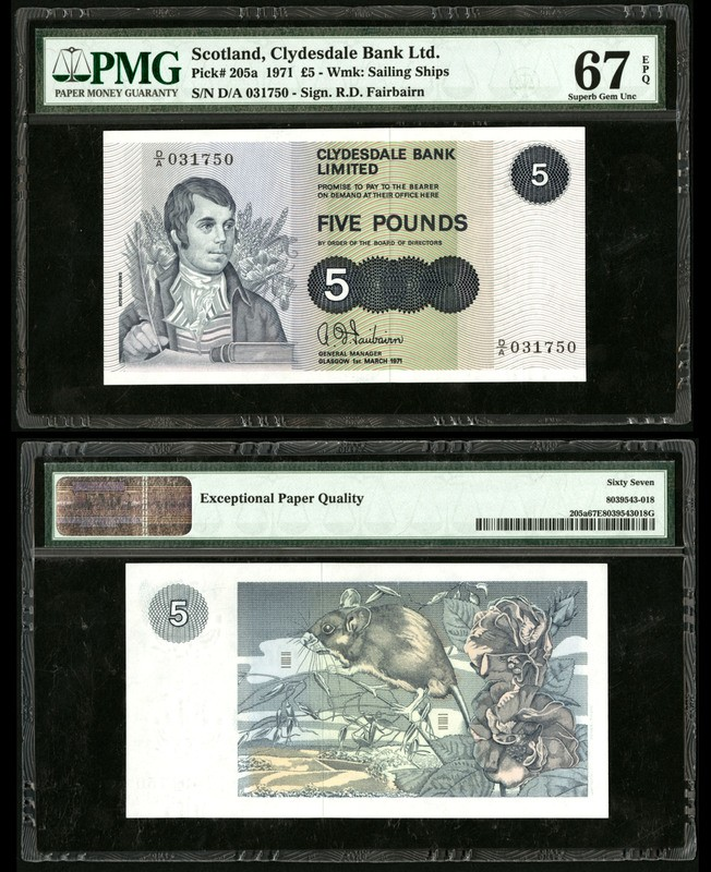 Scotland Clydesdale Bank Limited 5 Pound 1971 P 205a PMG 67EPQ.jpg