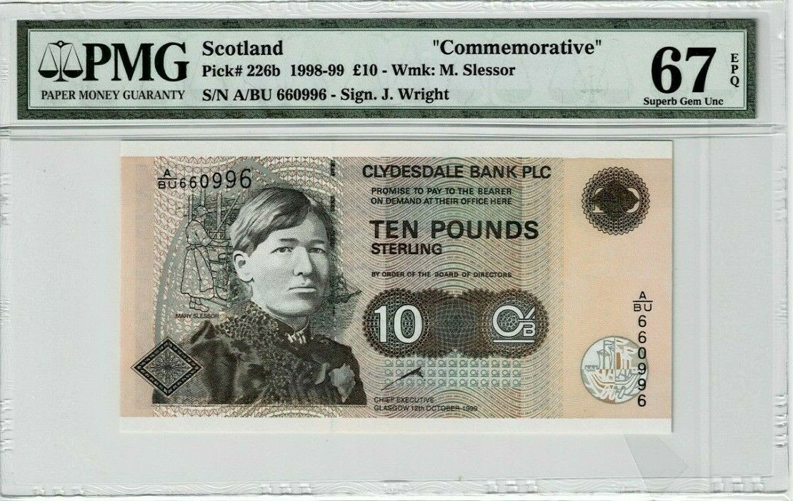 Scotland 10 Pounds 1999 Commemorative P 226b PMG 67EPQ.jpg