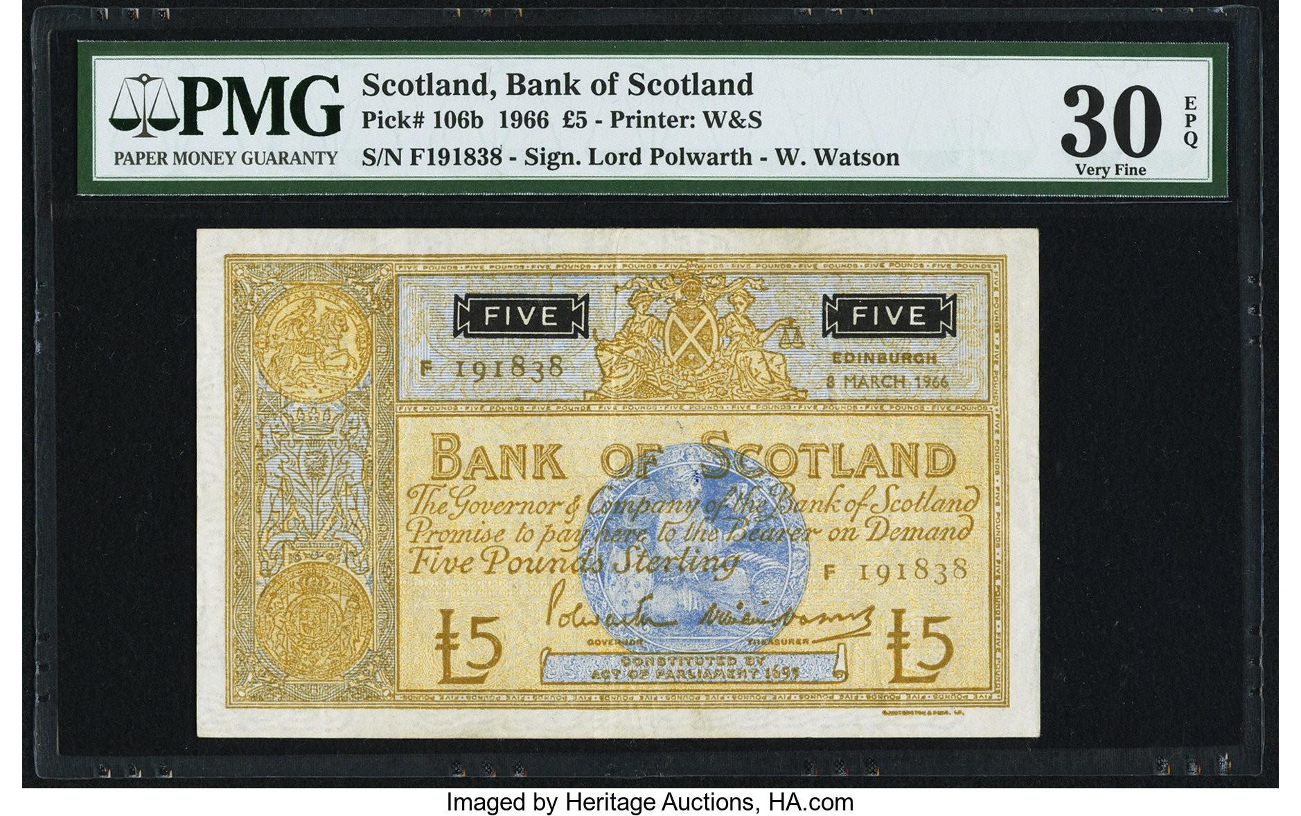 Scotland Bank of Scotland £5 8.3.1966 Pick 106b PMG Very Fine 30 EPQ o.jpg