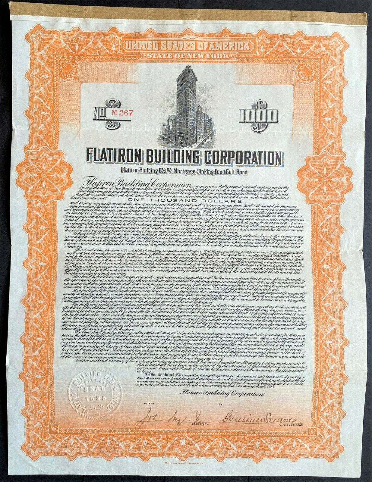FLATIRON BUILDING CORPORATION Bond 1925. Manhattan New York City.jpg