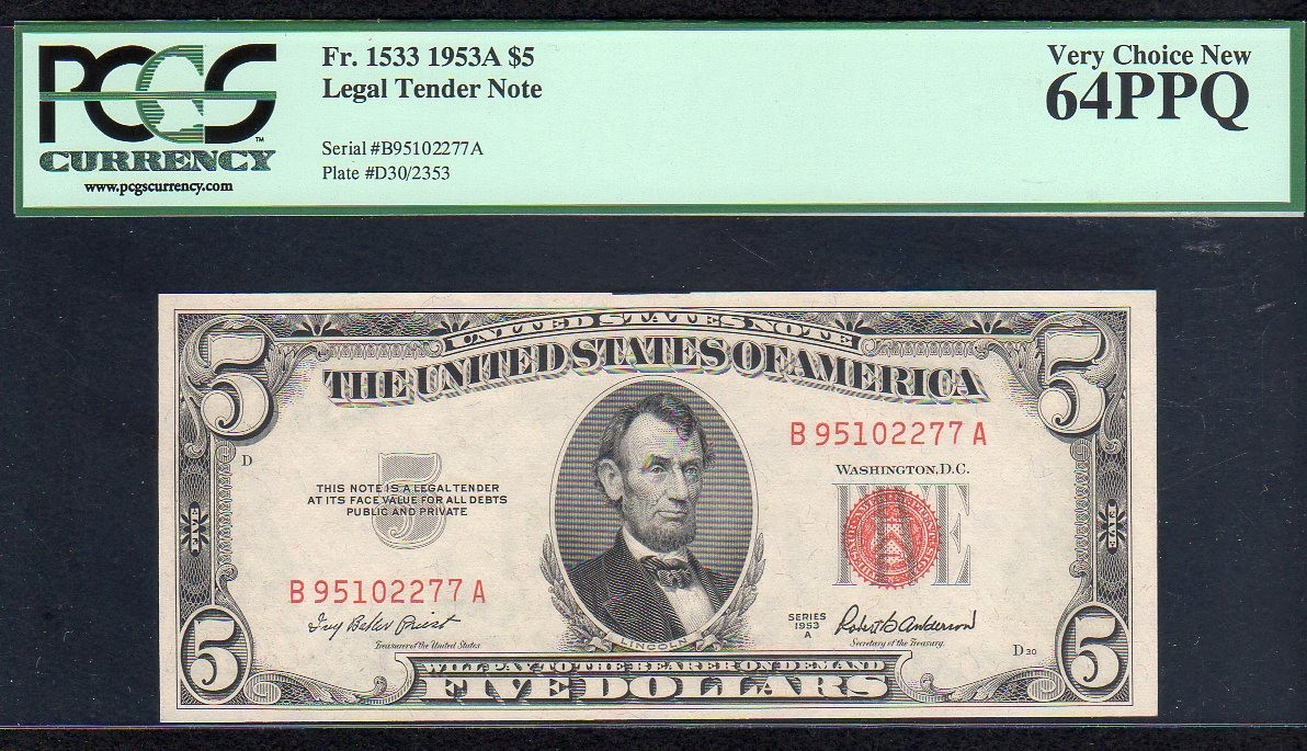1533 1953A $5 LEGAL TENDER NOTE !!! PCGS VERY CHOICE NEW 64 PPQ FR 153.jpg