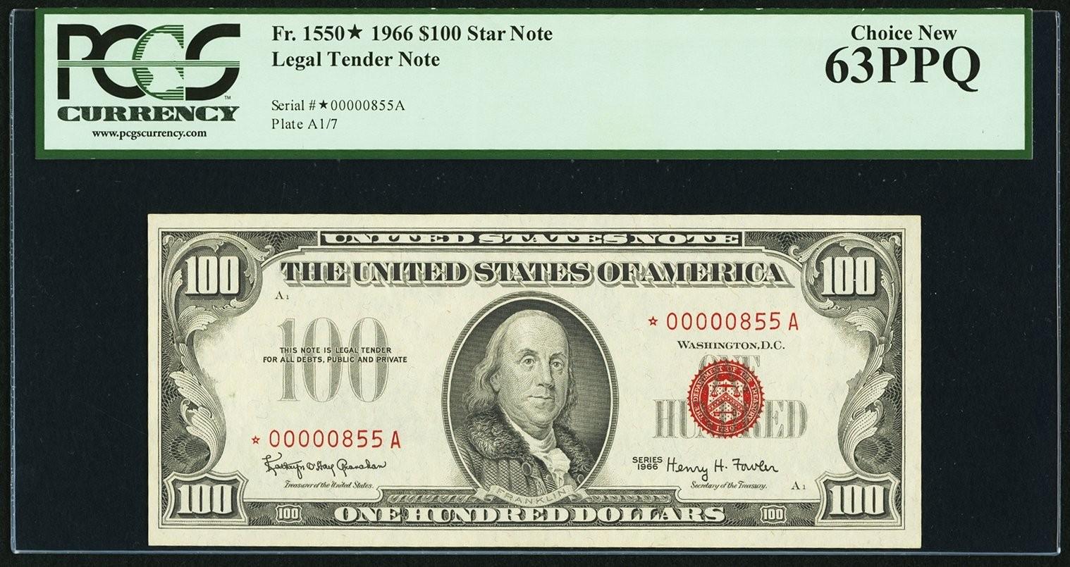 Low Serial Number 00000855A Fr. 1550 $100 1966 Legal Tender Star Note..jpg