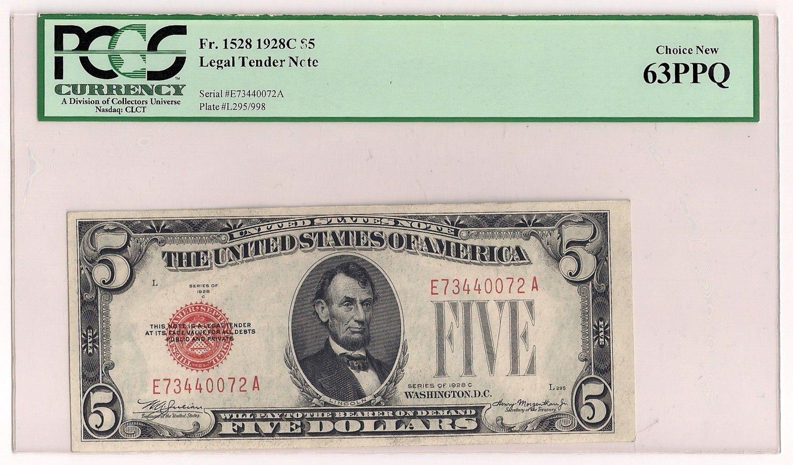 1928 C $5 Five Dollar Legal Tender Note Fr. 1528 Graded PCGS Choice Ne.jpg