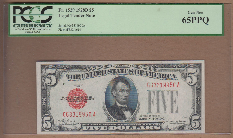 1928 D United States $5 Note Legal Tender PCGS 65PPQ $162.05 obv.jpg