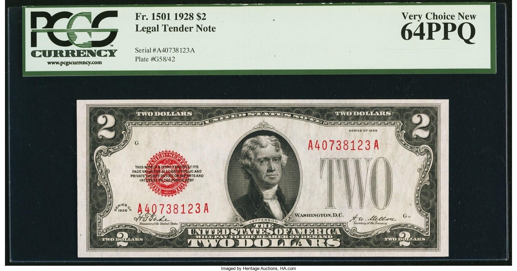 Fr. 1501 $2 1928 Legal Tender Note. PCGS Very Choice New 64PPQ $129.25.jpg