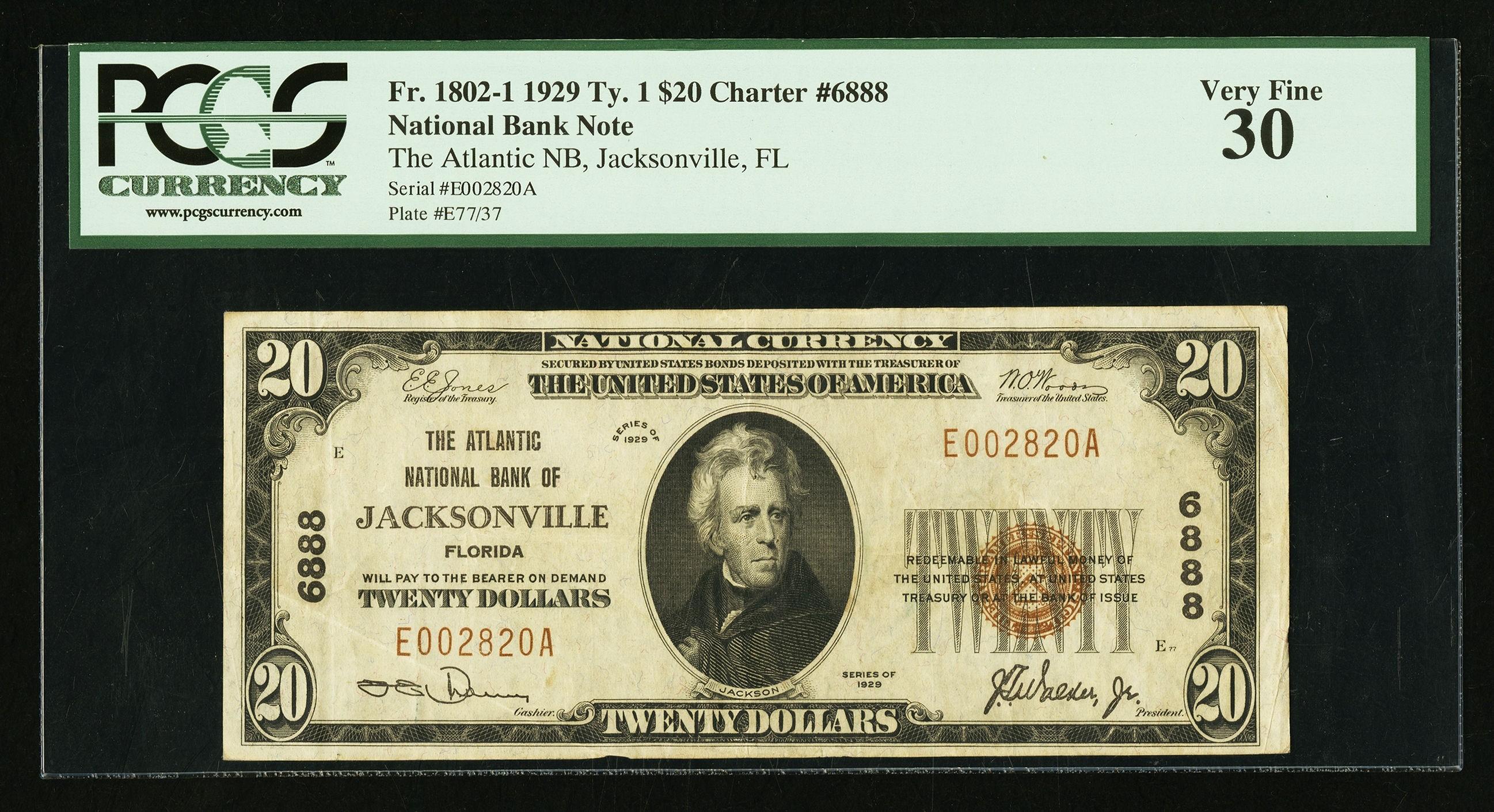 20 1929 Ty. 1 The Atlantic NB Jacksonville, FL - $20 1929 Ty. 1 $105.0.jpg