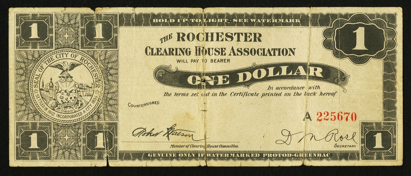 Rochester NY Clearing House Association $1 Mar. 5, 1933 HA $15 obv.jpg