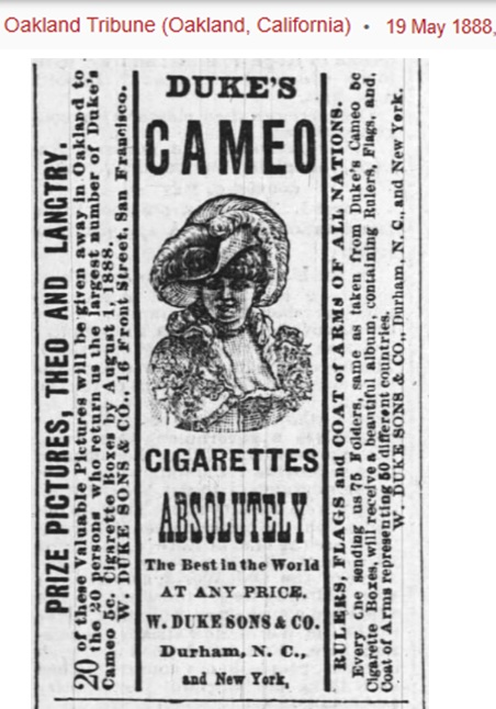 Cameo advert - May 1888 - cards theo and langtry.jpg