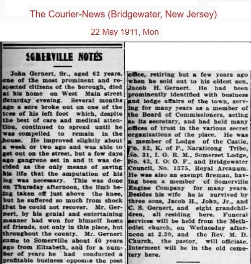 John Gernert obituary 1911.jpg