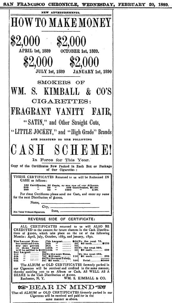 1889 02 20 San Francisco Chronicle - Kimball money and album redemptio.png