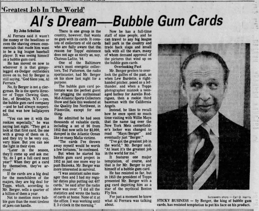 BALTIMORE SUN APRIL 25 1975 Sy Berger Profile With 52 High Number Dump.jpg